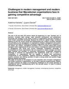 Challenges in modern management and modern business that Macedonian